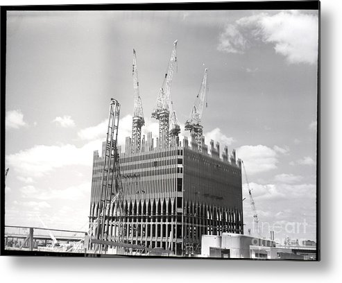 Trading Metal Print featuring the photograph World Trade Center Under Construction by Bettmann