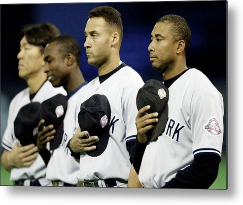Hubert H. Humphrey Metrodome Metal Print featuring the photograph Yankees Listen To The National Athem by Elsa