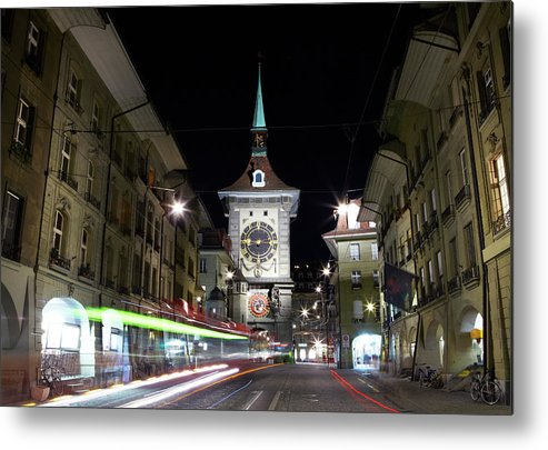 Clock Tower Metal Print featuring the photograph Zytglogge Tower At Night by Allan Baxter