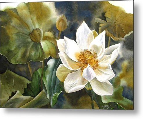 Lotus Metal Print featuring the painting White Lotus by Alfred Ng