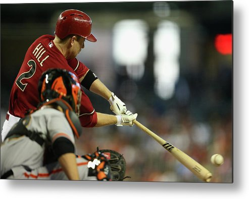 National League Baseball Metal Print featuring the photograph Aaron Hill by Christian Petersen