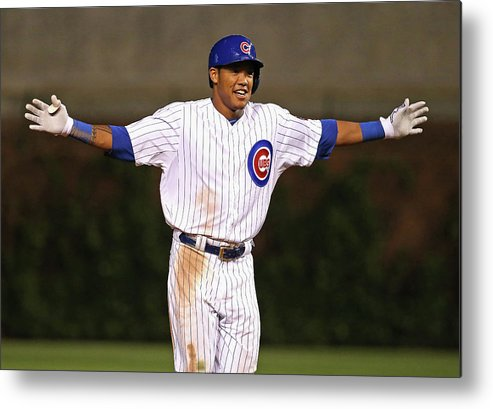Three Quarter Length Metal Print featuring the photograph Addison Russell by Jonathan Daniel