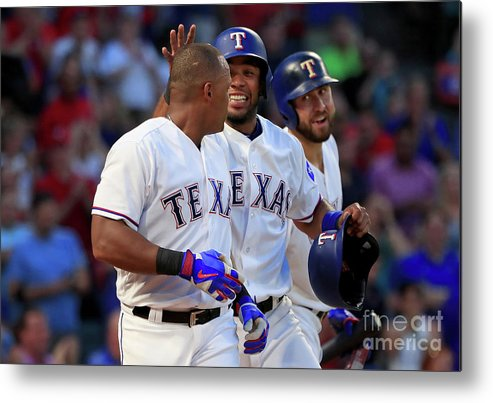 Adrian Beltre Metal Print featuring the photograph Adrian Beltre, Elvis Andrus, And Nomar Mazara by Tom Pennington