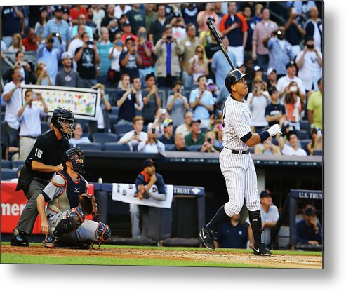 People Metal Print featuring the photograph Alex Rodriguez And Justin Verlander by Al Bello