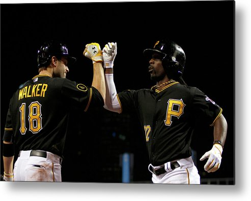 Professional Sport Metal Print featuring the photograph Andrew Mccutchen and Neil Walker by Justin K. Aller