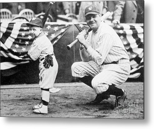 American League Baseball Metal Print featuring the photograph Babe Ruth by Transcendental Graphics