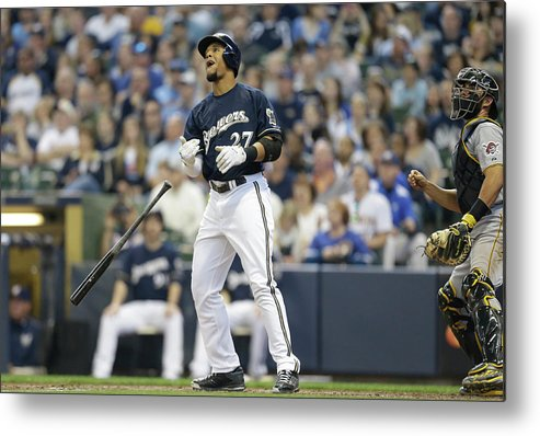 American League Baseball Metal Print featuring the photograph Carlos Gomez by Jeffrey Phelps