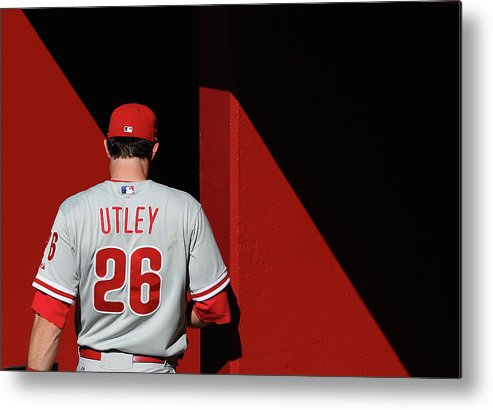 Following Metal Print featuring the photograph Chase Utley by Christian Petersen