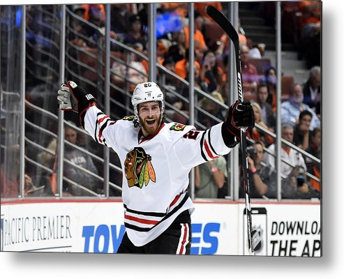 Brandon Saad Metal Print featuring the photograph Chicago Blackhawks v Anaheim Ducks - Game Seven by Harry How