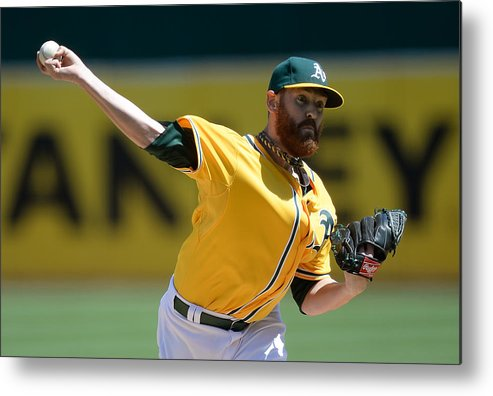 American League Baseball Metal Print featuring the photograph Dan Straily by Thearon W. Henderson