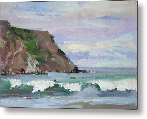 12x8 Plein Air Painting Captured On The Shore At Catalina. Original Is Available Metal Print featuring the painting Day's End Shark Harbor by Betty Jean Billups