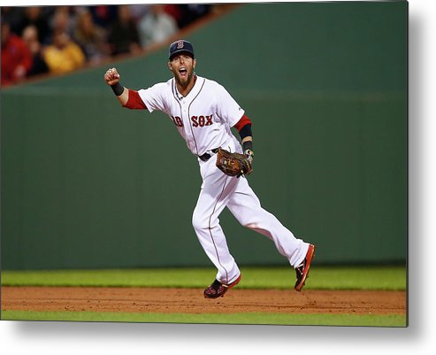 American League Baseball Metal Print featuring the photograph Dustin Pedroia by Jared Wickerham