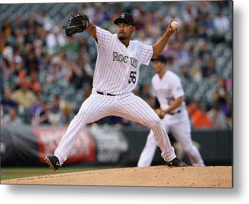 Baseball Pitcher Metal Print featuring the photograph Franklin Morales by Doug Pensinger