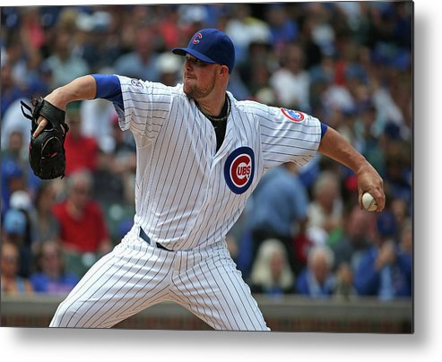 Three Quarter Length Metal Print featuring the photograph Jon Lester by Jonathan Daniel