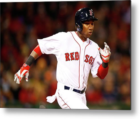 American League Baseball Metal Print featuring the photograph Jonathan Herrera by Jared Wickerham
