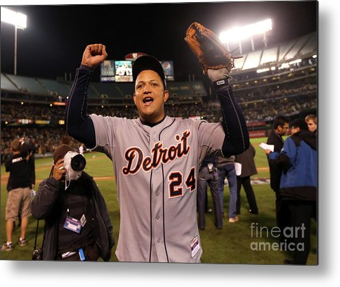American League Baseball Metal Print featuring the photograph Miguel Cabrera by Ezra Shaw