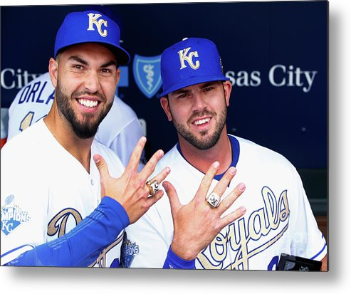 People Metal Print featuring the photograph Mike Moustakas and Eric Hosmer by Jamie Squire