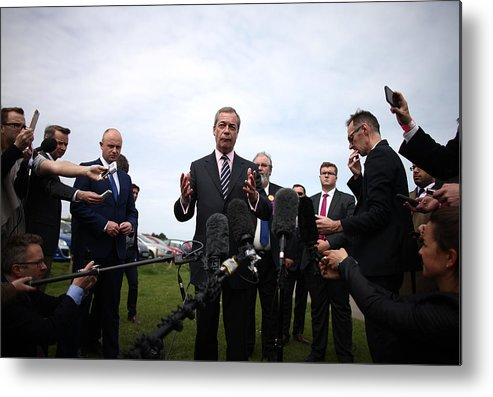 Failure Metal Print featuring the photograph Nigel Farage Resigns As Leader Of UKIP by Carl Court