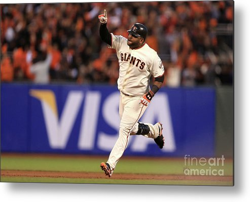 San Francisco Metal Print featuring the photograph Pablo Sandoval and Justin Verlander by Doug Pensinger