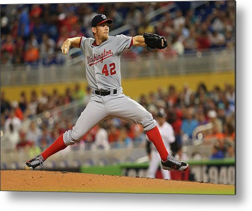 American League Baseball Metal Print featuring the photograph Stephen Strasburg by Mike Ehrmann