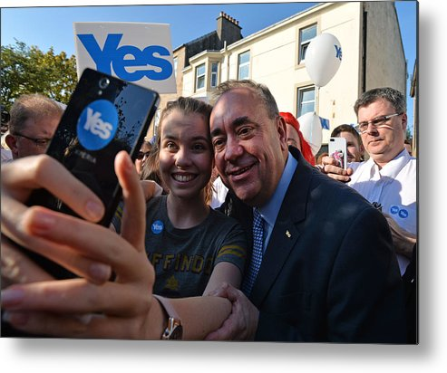 Event Metal Print featuring the photograph The Final Day Of Campaigning For The Scottish Referendum Ahead Of Tomorrow's Historic Vote by Mark Runnacles