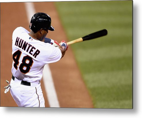 Three Quarter Length Metal Print featuring the photograph Torii Hunter by Hannah Foslien