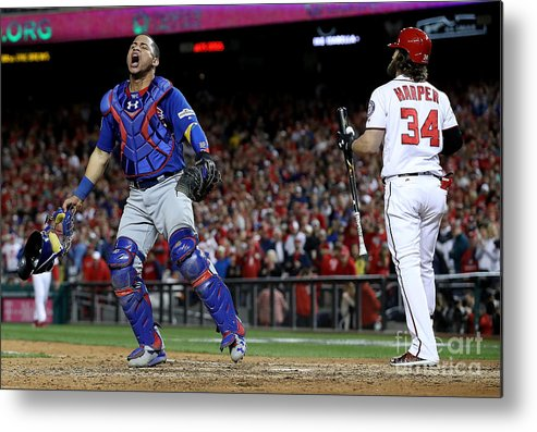 People Metal Print featuring the photograph Willson Contreras and Bryce Harper by Win Mcnamee