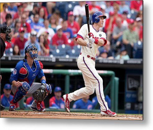 Individual Event Metal Print featuring the photograph Chase Utley by Mitchell Leff