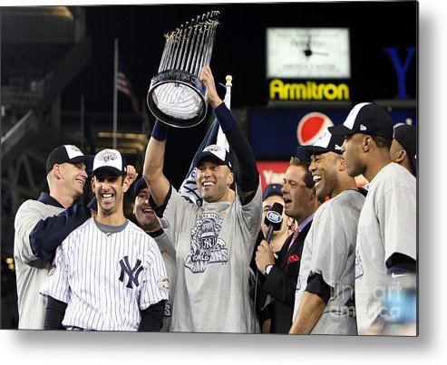 American League Baseball Metal Print featuring the photograph Derek Jeter, Mariano Rivera, and Jorge Posada by Jed Jacobsohn