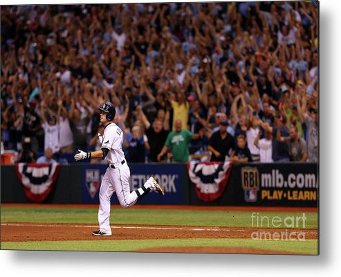 American League Baseball Metal Print featuring the photograph Evan Longoria by Mike Ehrmann