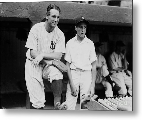 American League Baseball Metal Print featuring the photograph Lou Gehrig by Kidwiler Collection