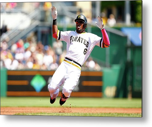 Following Metal Print featuring the photograph Starling Marte by Jared Wickerham
