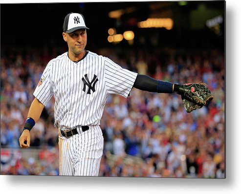 Crowd Metal Print featuring the photograph Derek Jeter by Rob Carr