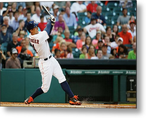 American League Baseball Metal Print featuring the photograph George Springer by Scott Halleran