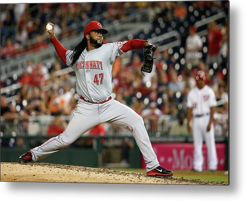 Ninth Inning Metal Print featuring the photograph Johnny Cueto by Rob Carr