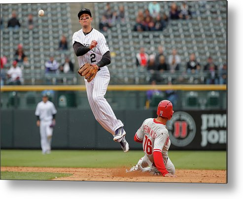 Double Play Metal Print featuring the photograph Troy Tulowitzki by Doug Pensinger