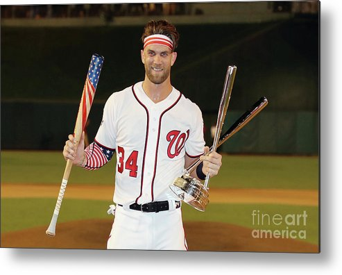 Three Quarter Length Metal Print featuring the photograph Bryce Harper by Rob Carr
