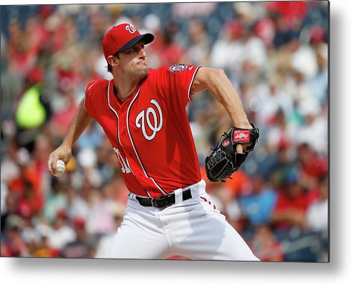 Three Quarter Length Metal Print featuring the photograph Max Scherzer by Rob Carr