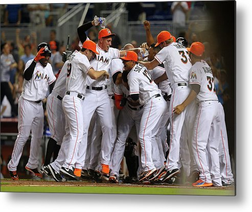 American League Baseball Metal Print featuring the photograph Giancarlo Stanton by Mike Ehrmann
