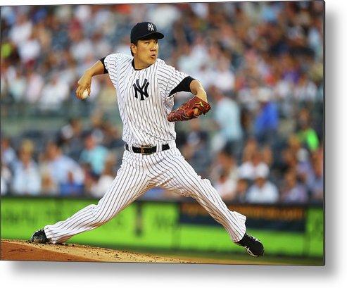 American League Baseball Metal Print featuring the photograph Masahiro Tanaka by Al Bello