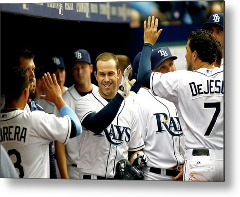 American League Baseball Metal Print featuring the photograph Evan Longoria by Brian Blanco