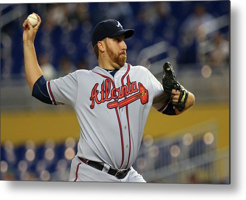 American League Baseball Metal Print featuring the photograph Aaron Harang by Mike Ehrmann