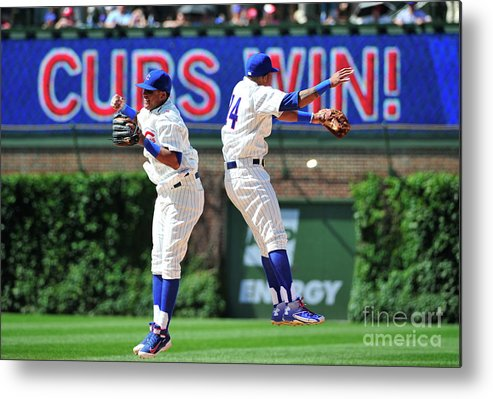 People Metal Print featuring the photograph Addison Russell and Starlin Castro by David Banks