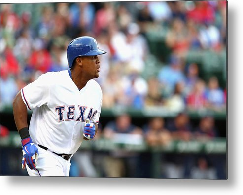 Adrian Beltre Metal Print featuring the photograph Adrian Beltre and Bruce Chen by Ronald Martinez