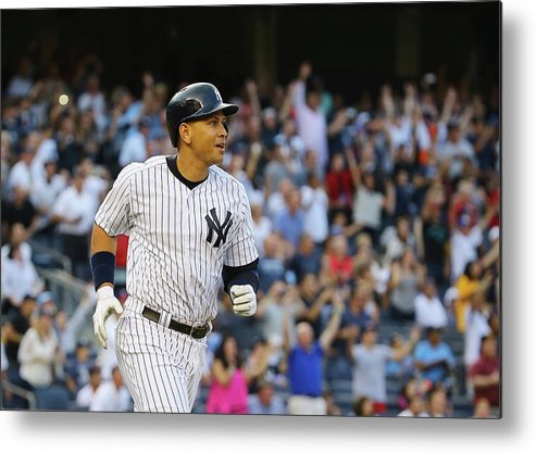Three Quarter Length Metal Print featuring the photograph Alex Rodriguez and Justin Verlander by Al Bello