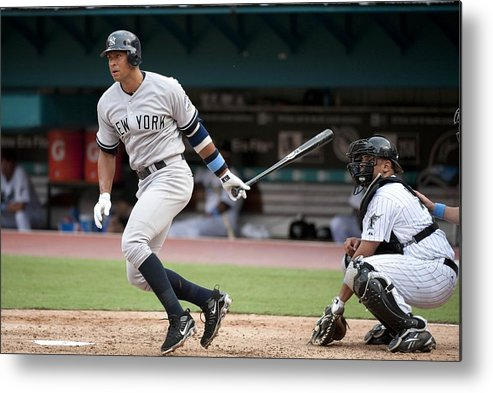 American League Baseball Metal Print featuring the photograph Alex Rodriguez by Ronald C. Modra/sports Imagery