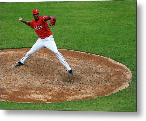 American League Baseball Metal Print featuring the photograph Alexi Ogando by Tom Pennington
