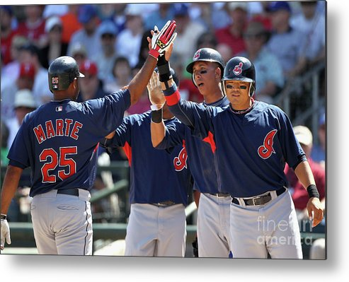 Anderson Hernández Metal Print featuring the photograph Andy Marte, Michael Brantley, and Shin-soo Choo by Christian Petersen