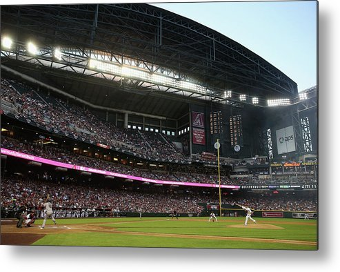Baseball Pitcher Metal Print featuring the photograph Angel Pagan and Brandon Mccarthy by Christian Petersen