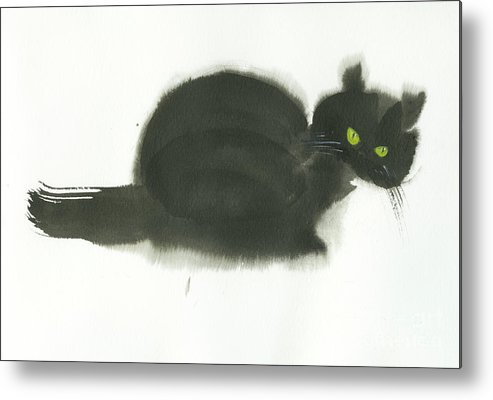 An Angry Cat With Green Eyes. This Is A Simple Contemporary Chinese Brush Painting On Rice Paper. Metal Print featuring the painting Angry Cat by Mui-Joo Wee